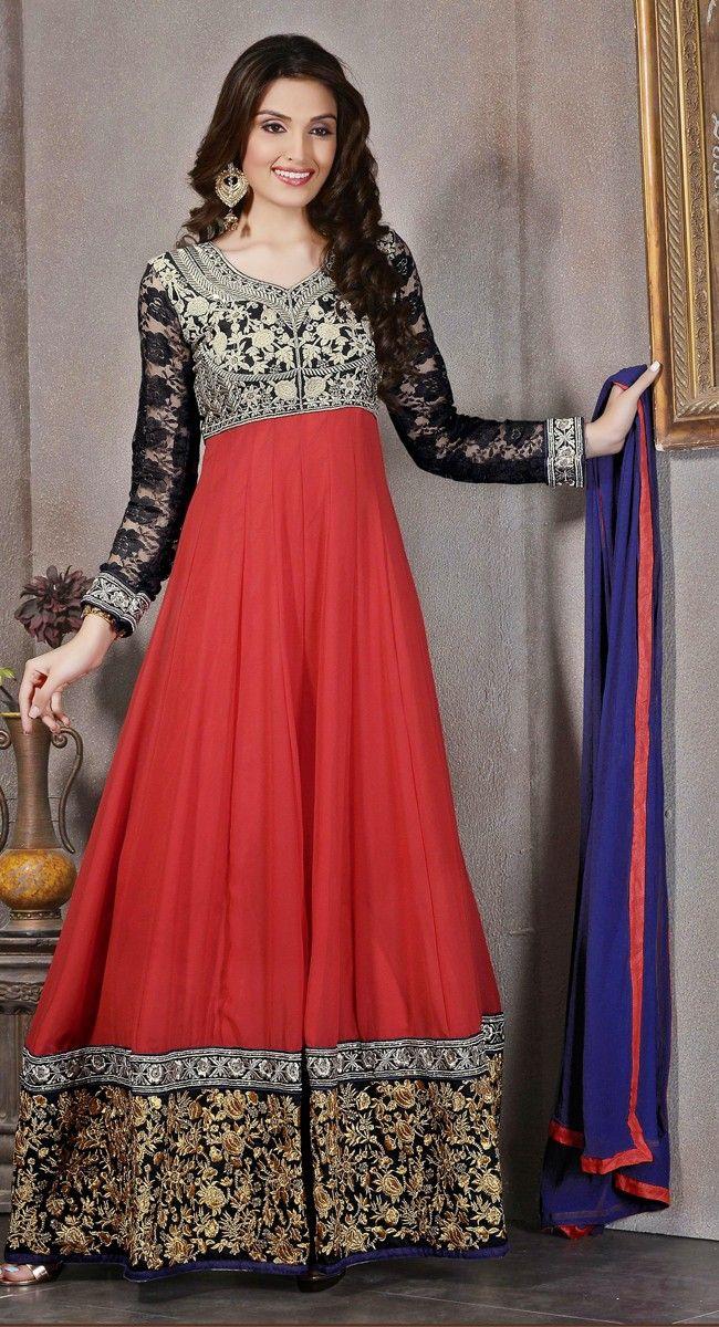 Black and Red color Long Length Anarkali-Georgette Salwar Kameez
