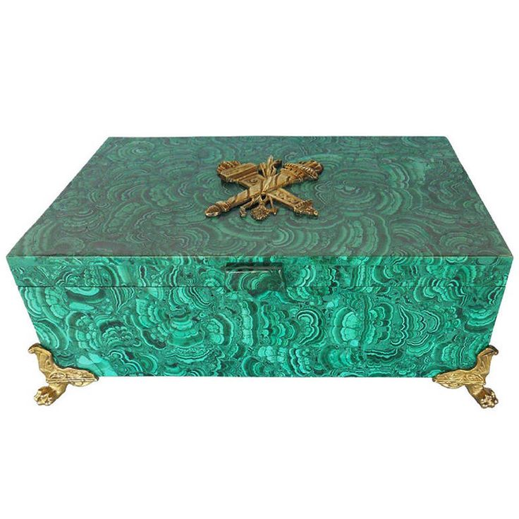 Impressive Antique Russian Malachite Box | 1stdibs.com available at www.pegasogallerydesign.com