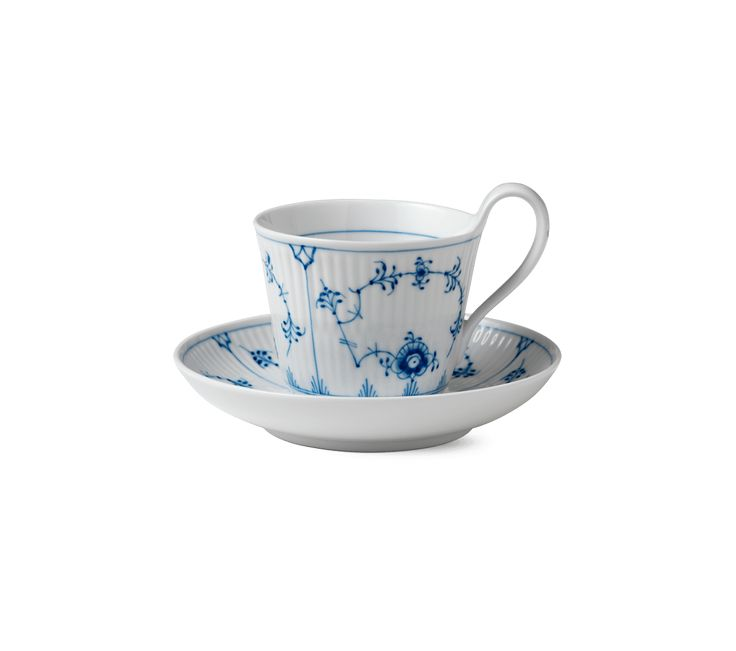 Blue Fluted Plain High handle cup and saucer