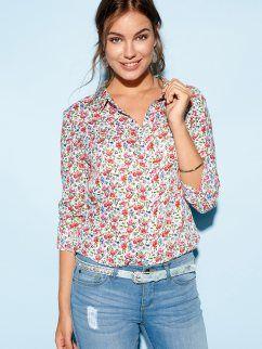 Camisa mulher manga comprida regulável flores