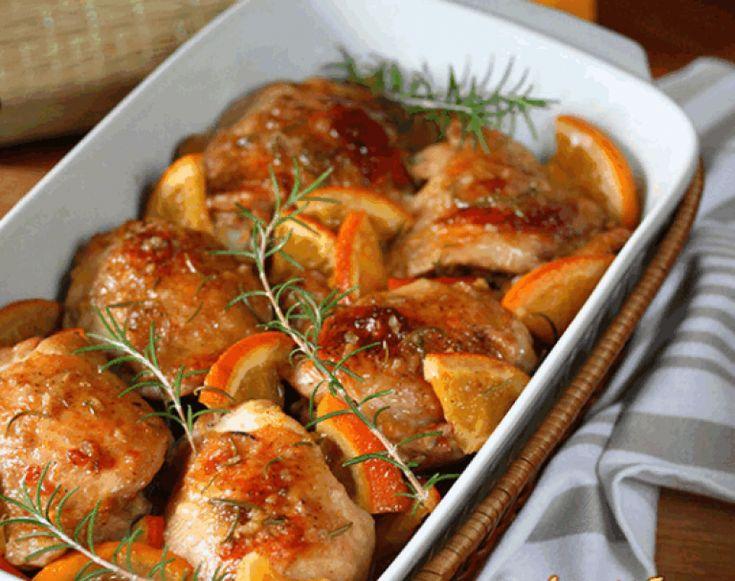 Курица запеченная в апельсиновом соусе с розмарином   Самые вкусные кулинарные рецепты