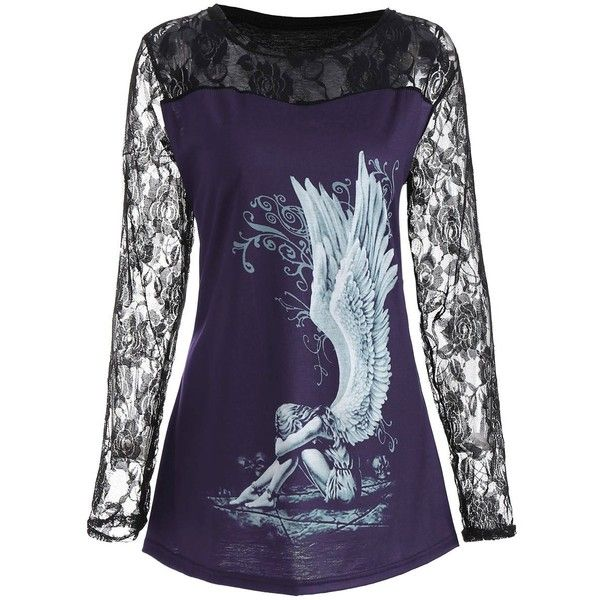 Lace Panel Angel Print Plus Size Top (925 RUB) ❤ liked on Polyvore featuring tops, lace insert top, patterned tops, lace inset top, womens plus tops and purple plus size tops