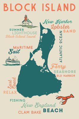 Block Island, Rhode Island - Typography & Icons - Lantern Press Poster