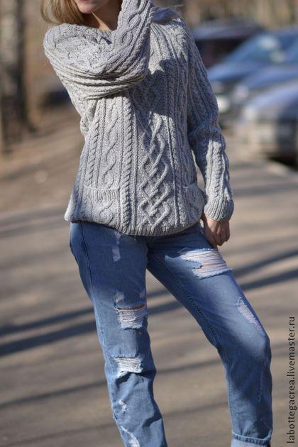 Свитер вязаный FeelMore wool - серый,свитер женский,свитер с косами,свитер вязаный