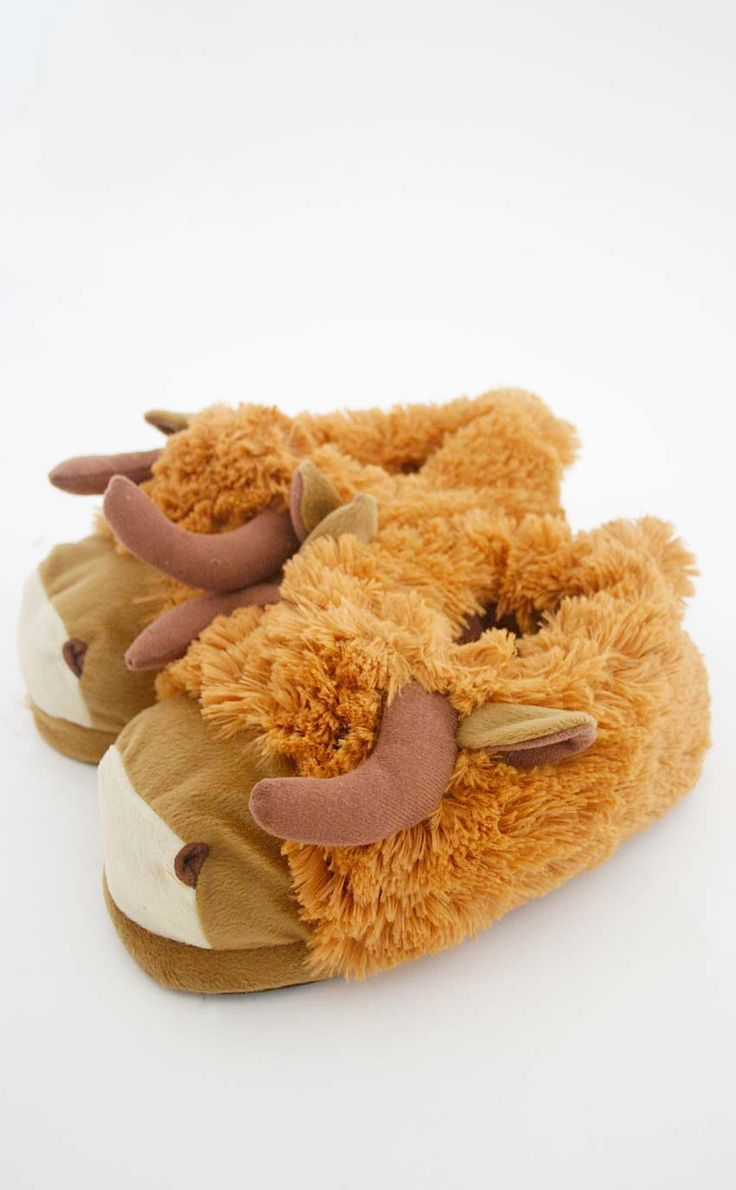 Highland Cow Slippers by Scotweb Tartan Mill
