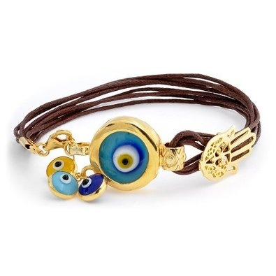Evil Eye Charm Leather Bracelet