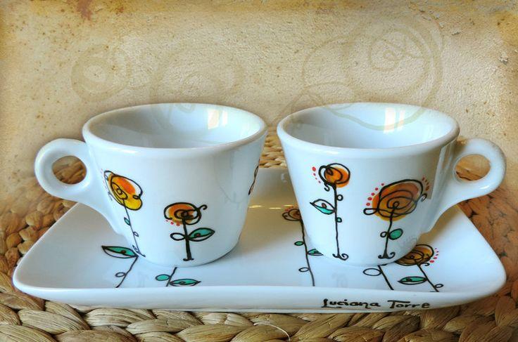 coppia di tazze e vassoio in porcellana dipinta a mano  SHOP ONLINE:   Luciana-Torre-SHOP.dawanda.com