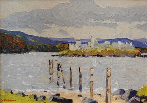"Alex McKenna, ""Lough Key Park, Roscommon"" #art #painting #Roscommon #loughkeypark #water #clouds #landscape #painting #DukeStreetGallery"
