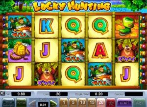Lucky Hunting play for money   Happy Hunting Online pokies, as the name implies, is based on a real man's pastime. There are 5 reels and 20 paylines. There are signs of Wild and Scatter. The latter allows you to win 15 free spins. There is also a bonus and unusual risk-game, in which you can significantly increase the earned winnings.