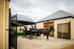 Take a horse and carriage ride to the onsite wedding chapel at Calvin Estate, Hunter valley. http://www.calvinestate.com.au/