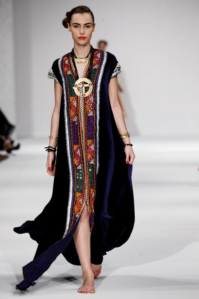 9. Dibaj SS 2013 Runway - Highly decorated Assyrian long tunic w/ patterns, beads and embroidery.