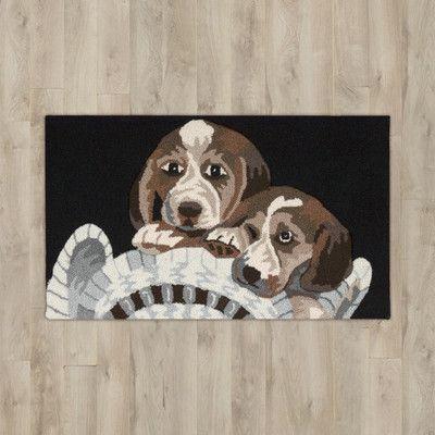 "Charlton Home Arpdale Black ""Beagles"" Area Rug"
