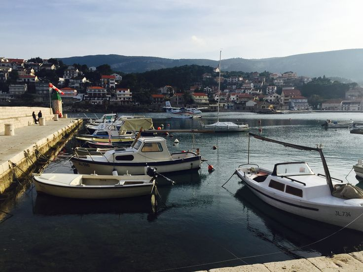 A 15 seater seaplane coming into the pretty harbour of Jelsa before the 11 minute flight from the island of Hvar to Split in Croatia.