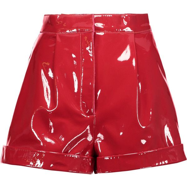 Valentino - Pleated Patent-leather Shorts ($1,575) ❤ liked on Polyvore featuring shorts, red, pleated shorts and red shorts
