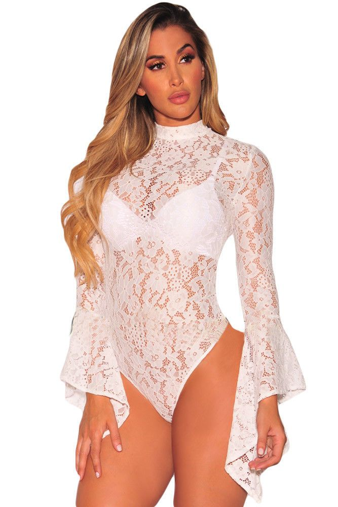 4b36d0892327 ... V Neck Bodycon Leotard Tops. White Lace Teddy Bodysuit Lingerie Long  Bell Sleeve Sheer Small 32158 #GabriellesLingerie
