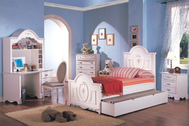 Cute Bedroom for Girls Ideas: Breathtaking Vintage White Trundle Beds With Chair And Minimalist Wood Dressing Table In Fascinating Girl Bedroom Furniture Girls Bedrooms Decorating Designs Inspirations ~ kaliopa.com Bedroom Design Inspiration