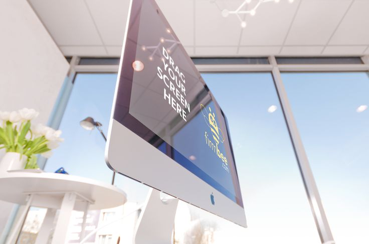 iMac in a modern scenery. #free #psd #apple #digital #design #mockup #business #mobile #office #imac #