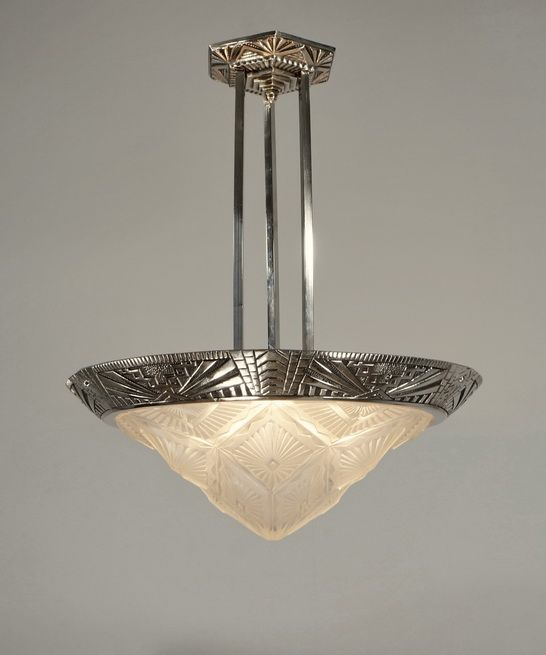 French 1930 art deco chandelier in nickel plated bronze and moulded pressed glass