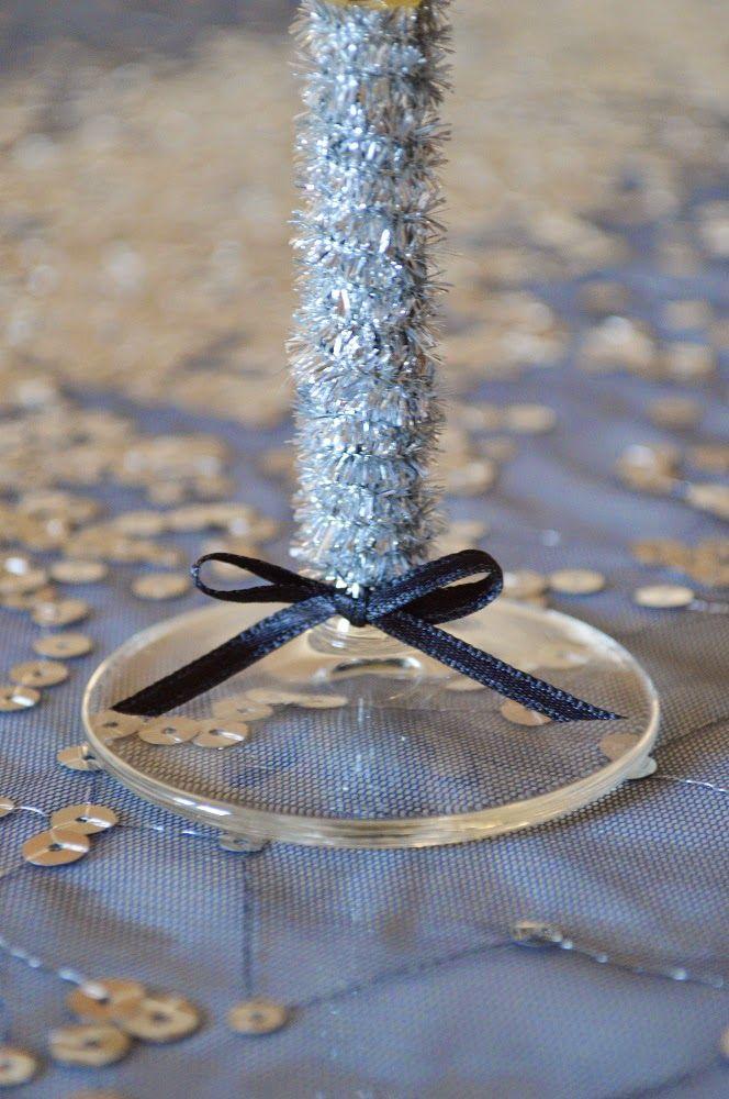 szilveszter, new year's eve, champagne glass decor, diy