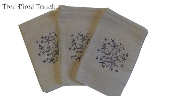 10 3x5 Stary Night  Unbleached Muslin bags/ pouches - in Blue - Great for Party favors Herbs Soaps Jewelry WHOLESALE Packaging Supply
