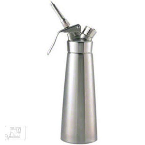 Browne-Halco 574355 16.9 oz Stainless Steel Mosa Cream Whipper by Browne-Halco. $112.99. Whipped cream is a perfect topping for a wide variety of desserts, drinks and more. When serving a pie, cappuccinos or other treats, use this 17 oz Stainless Steel Mosa Cream Whipper (574355) to add a delicious and welcomed touch. This whipped cream dispenser is brought to you by Browne-Halco, a leading name in the food industry known for quality equipment and smallwares. Its du...
