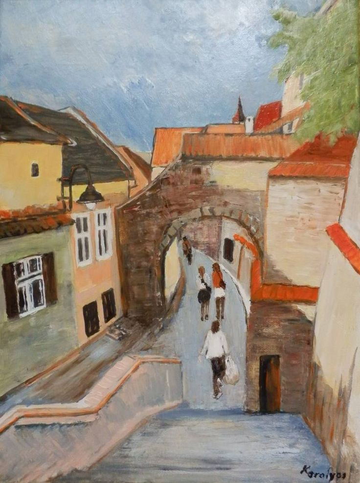 Buy A typical day, an Oil Painting on Canvas, by Maria Karalyos from Romania, For sale, Price is $295, Size is 40 x 30 x 2 cm.
