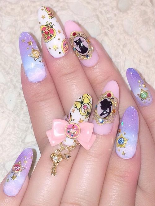 Beautiful Sailor Moon Nail Art! I wish I could find a good link to the - Best 25+ Sailor Moon Nails Ideas Only On Pinterest Kawaii Nails