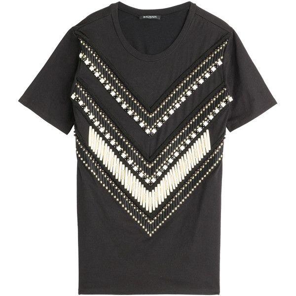 Balmain Embroidered T-Shirt ($995) ❤ liked on Polyvore featuring tops, t-shirts, balmain, shirts, tees, black, round neck t shirt, balmain t shirt, long shirts and tee-shirt