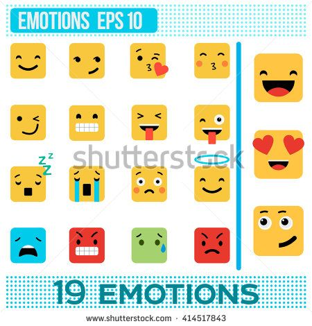 Square emotions. Yellow Smileys. Emoji flat design. vector illustration. Set of cute emoticons. A set of emotions. Emotions icon. Different emotions collection. red, green, blue, emotion, love, cubes - stock vector