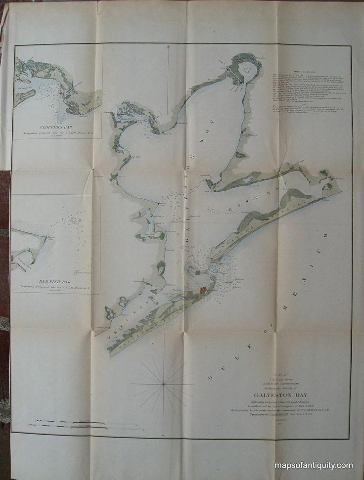 San Jose Monterey Map%0A Preliminary Sketch of Galveston Bay       Antique Coast Chart  u     Original   Vintage  Rare