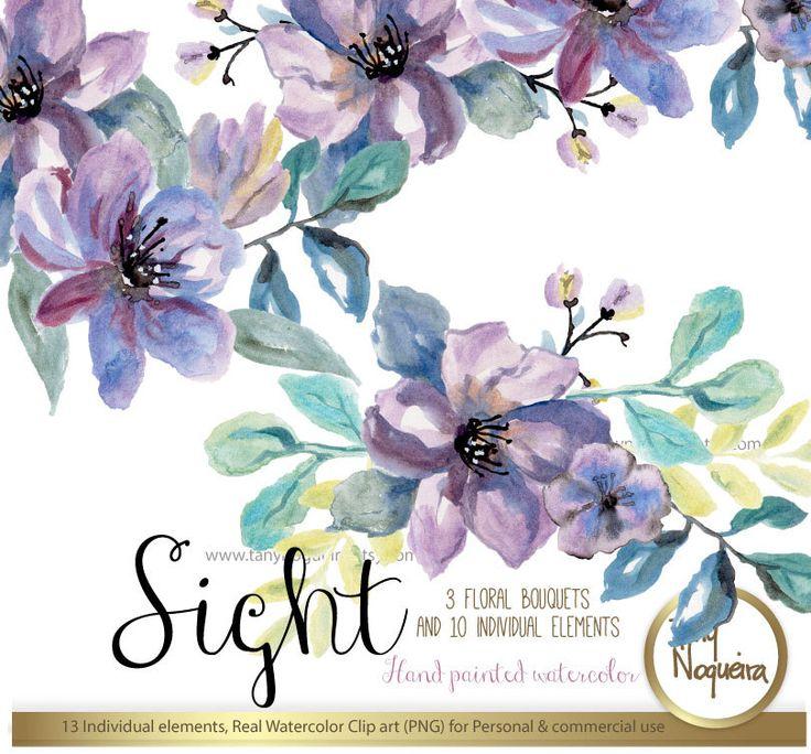 https://www.etsy.com/mx/listing/280747376/sight-clipart-acuarela-png-flores-marcos #romantic #marcosflorales #wreaths #floraldesigns #violet #watercolorflowers #CARDS #design