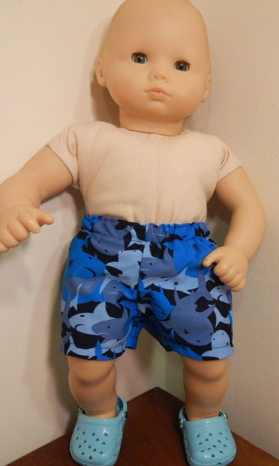 Blue Shark Swimsuit and Shoes for Boy Bitty Baby Doll (15 inch doll) Doll Clothes