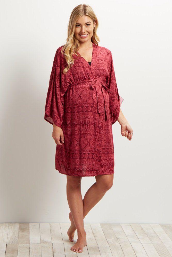 Magenta Printed Delivery/Nursing Maternity Robe