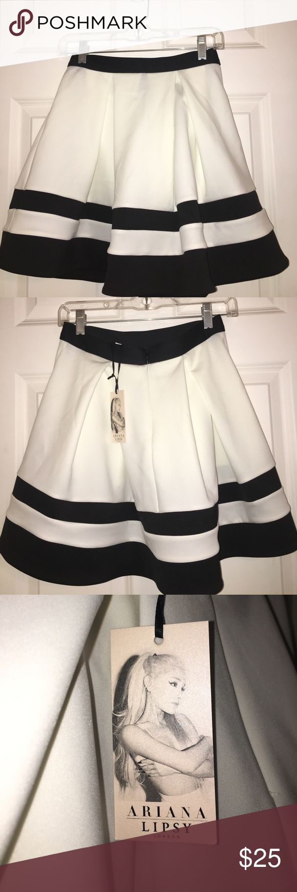 NWT ARIANA GRANDE LIPSY ♡ BLACK AND WHITE SKIRT **RARE** This is a black and white skirt from the Ariana Grande Lipsy Collection! This is brand new with the tags and I'm open to offers! Ariana Grande Skirts Mini