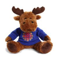 Introducing Maury the Moose! He's cute, he's cuddly and he is very fashionable in his knit sweater with the CBC retro 70s logo.