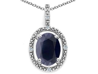 Tommaso Design™ Oval 9x7mm Genuine Black Sapphire Pendant