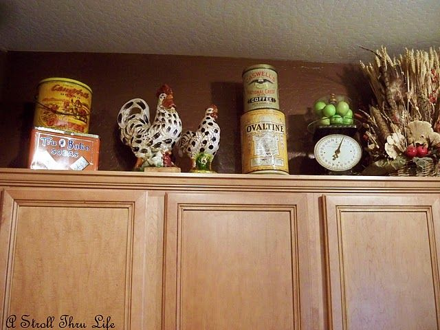 67 best cabinet top decorating images on pinterest for Decoration ideas for above kitchen cabinets