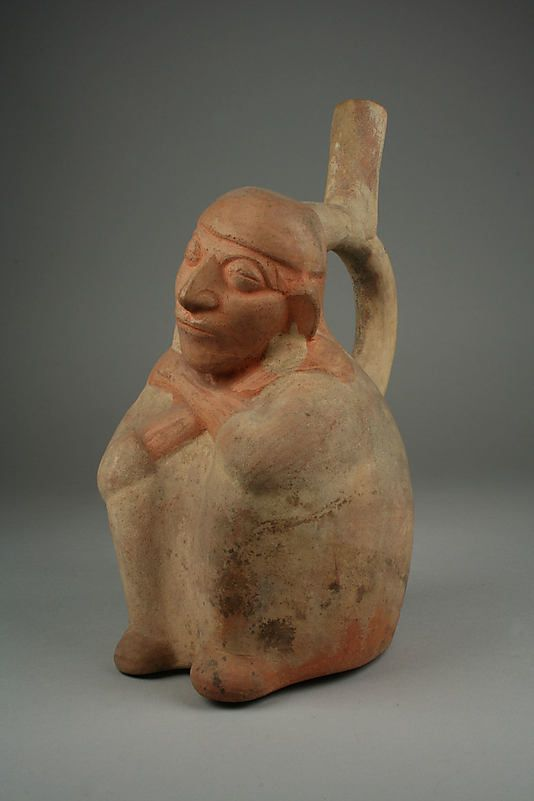 Stirrup Spout Bottle with Sleeping Man  Date:     4th–7th century Geography:     Peru Culture:     Moche