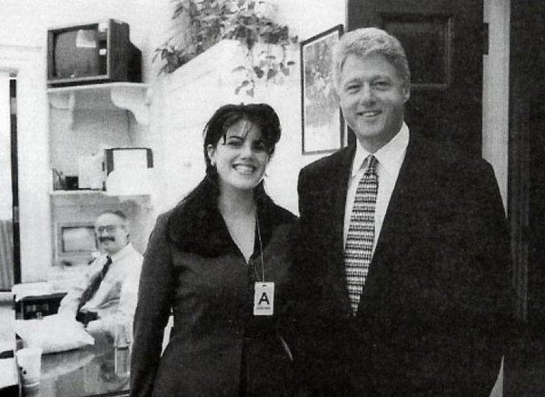 President Clinton poses with White House intern Monica Lewinsky, 1995.