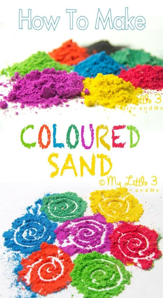 Make your own coloured sand! Vibrant colours for all your kids' sand art and sand craft projects.