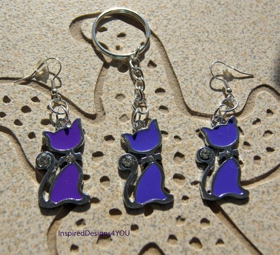 Enamel  Purple Cat Key Ring with Crystals   by InspiredDesigns4YOU, $10.00