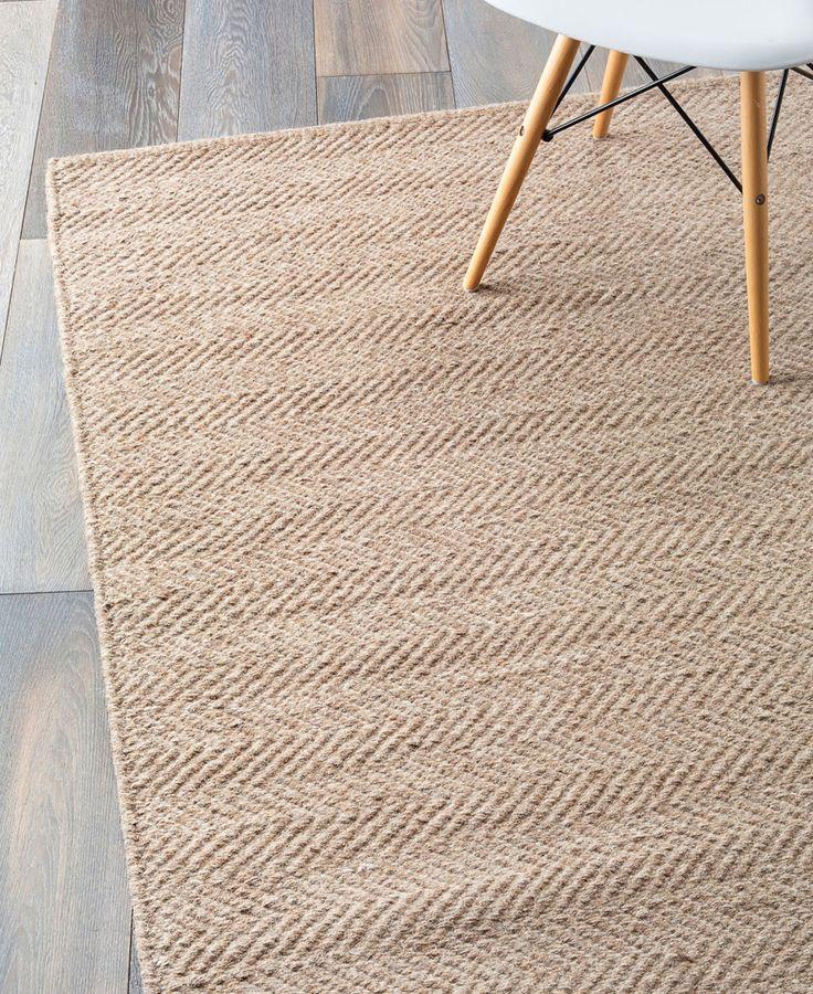 Herringbone Weave Wool Rug In Granite Ecru