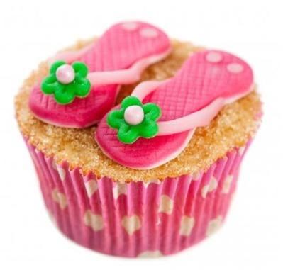 Slippers op het strand cupcakes
