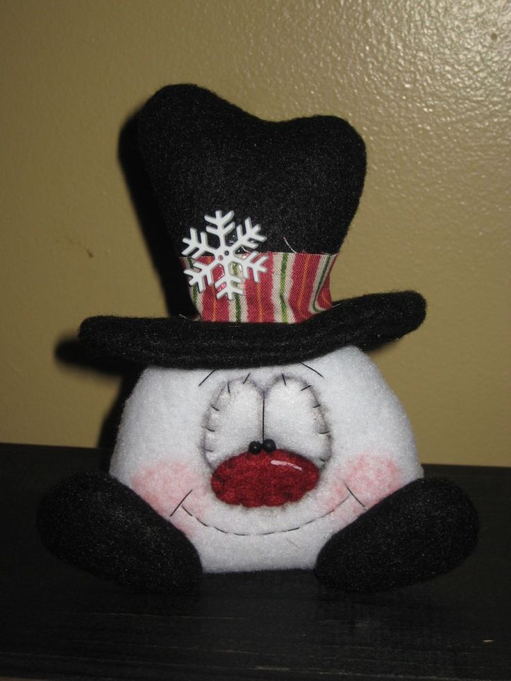PRIMITIVE HC CHRISTMAS HOLIDAY SNOWMAN DOLL BOWL FILLER SHELF SITTER ORNIE #Country