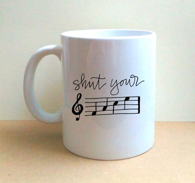 Shut Your F-A-C-E - Hand Lettered Coffee Mug - Musical Humor - Music Notes - Musician Gift - Gift for Music Lovers - Funny - OOAK by…