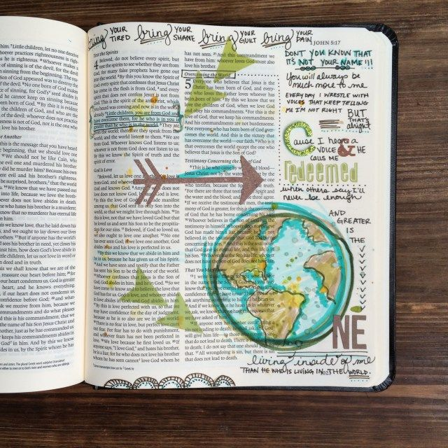 for He who is in you is greater than he who is in the world. | 1 John 4:4 | #illustratedfaith #biblejournaling