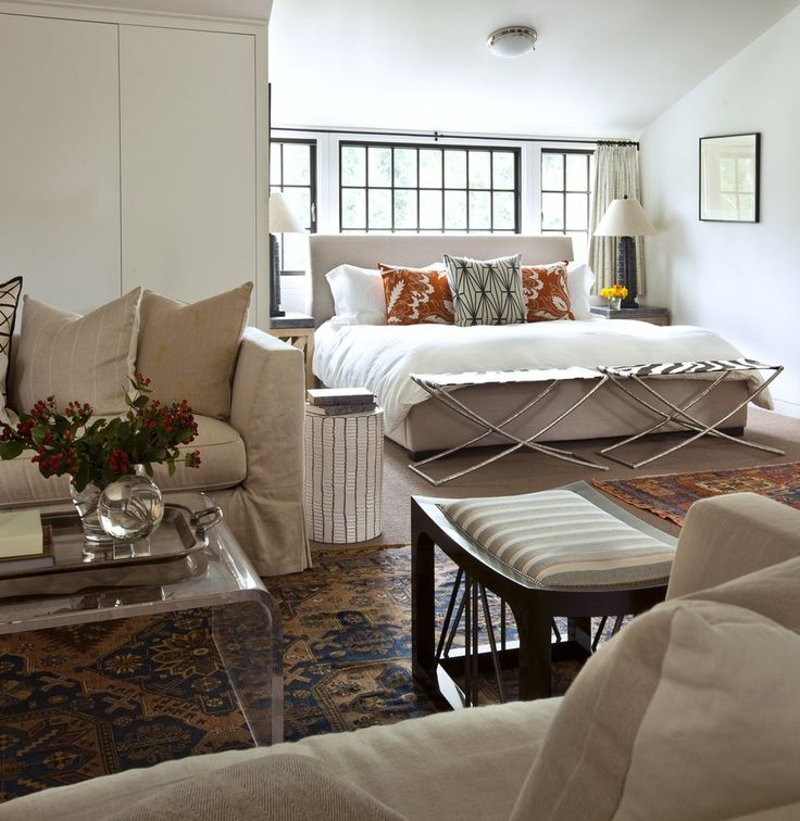 thom filicia design for a house in greenwich ct i like the bed in a niche and the treatment of the bed in front of the windows