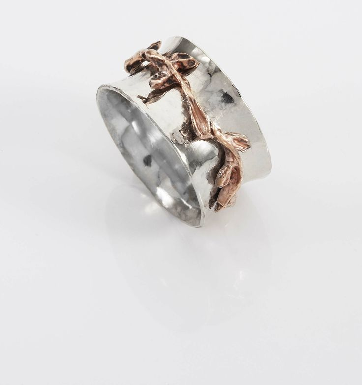 White and Rose Gold Anticlastic  Laurel Wrapped Wedding Band