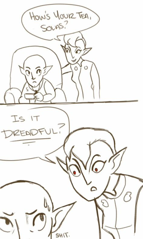 We're on to you #Solas #Dragonage Knew Solace was gunna be one of those characters. He doesnt like TEA! Whhhaaa?