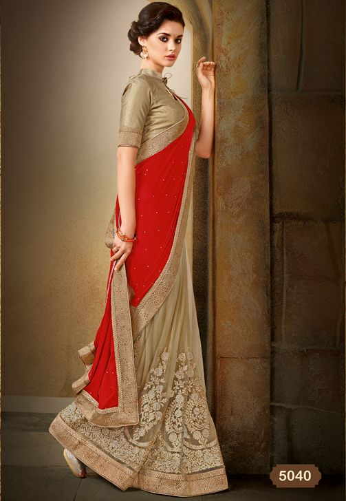 BEIGE AND RED DESIGNER PARTY WEAR SAREE
